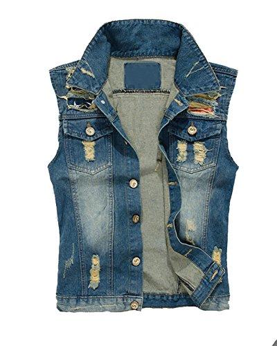Herren Jeans Denim Weste Jeansjacke Ärmellose Ripped Denim Jacket Classic Jacket Casual Weste Blau