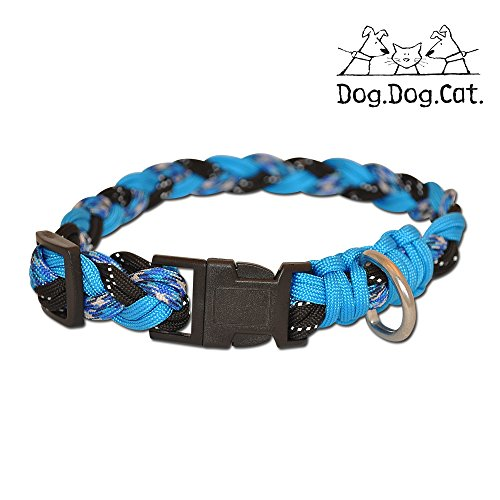 Dog and Cat Paracord Hundehalsband, Large 15-24 inches, Blue Combo w. Reflective