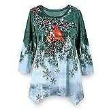 SEWORLD Heißer Einzigartiges Design Mode Damen Frauen Frohe Weihnachten Langarm Weihnachtsdruck Unregelmäßiger Saum Sweatshirt Bluse(X2-grün,EU-42/CN-2XL)