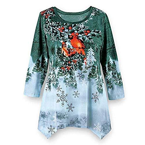 IZHH Damen Pullover Plus Size Damen Winter Festliche Wasserfall Weihnachten Unregelmäßiger Rand Bluse Top Weihnachtsdruck Langarm Saum Unregelmäßige Sweat-Shirts Pullover Tunika (Grün,X-Large)