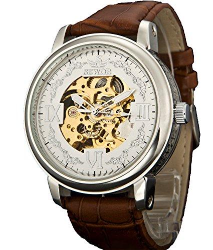 Sewor Crusader Mens Mechanical Hand Wind Skeleton Transparent Wrist Watch (Silver White)