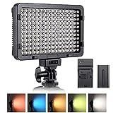 ESDDI 176 LED Videoleuchte Dimmbare Kamera Video Beleuchtung Panel mit 5 Verschiedenen Farbfiltern, NP-F550 Akku und Ladegerät, Blitzschuh, für Canon, Nikon, Sony, und andere DSLRs/Camcorder