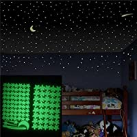 DFVVR Glow in The Dark Star Wall Stickers 103Pcs Star Moon Luminous for Starry Sky, Decor for Kids Bedroom or Birthday Gift,Beautiful Wall Decals for Any Room, Bright and Realistic