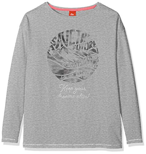 s.Oliver Mädchen 66.909.31.8960 T-Shirt, Grau (Grey Melange 9400), 164 (Herstellergröße: L/REG)