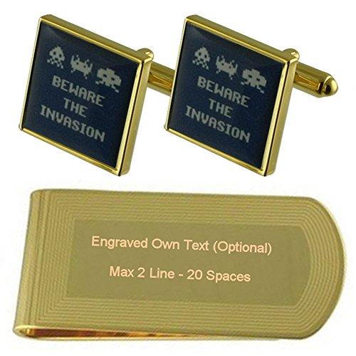 Invasion Space Invaders Neuheit Gold-Manschettenknöpfe Geldscheinklammer Gravur Geschenkset (British Invasion-gold)