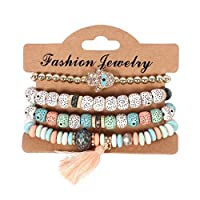 LJSLYJ Vintage Ethnic Multilayer Big Beads Bracelets Boho Statement Flower Bangles Bracelets for Women Jewelry,Colorful