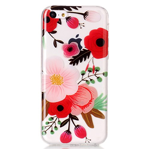 Coque iPhone 5C, HB-Int Etui iPhone 5C Silicone Souple Ultra Transparent Antichoc Housse de Protection Soft TPU Shockproof Case Cover avec Motif pour Apple iPhone 5C - Fleur Rouge Fleur Rouge