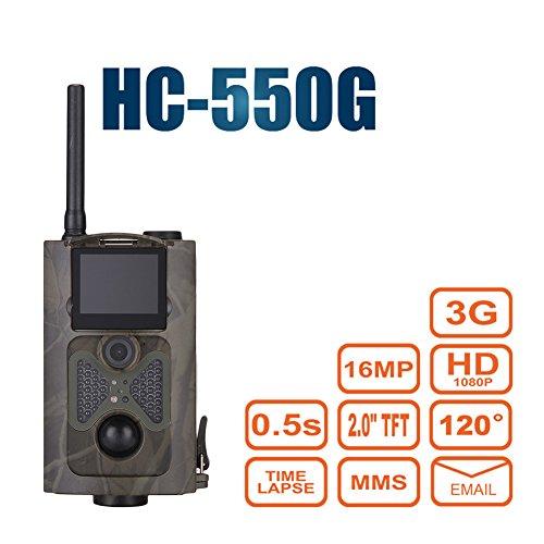 hc-550g Trail Kamera 120° 16MP HD 1080P Infrarot-Nachtsicht Wildlife Kamera Zeitraffer 5,1cm Farbe LCD Display 3G SMS MMS SMTP Jagd Pfadfinder Überwachungskamera (Bewegungs-sensor-trail Cam)