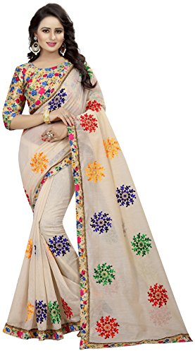 Shreeji Designer Women's Chanderi Cotton Embroidered Saree with Blouse Piece(VS-2246-1_Off White_Free Size) 1