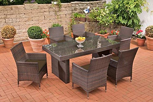 Gartenmöbel, Gartenmöbel-Set, Sitzgarnitur Avignon, rubin-rot / braun-meliert, Polyrattan-Aluminium-Gestell, Gartengarnitur, Sitzgruppe