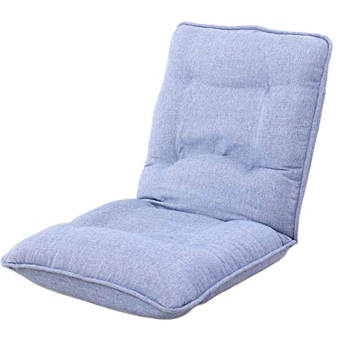 DULPLAY Verstellbar Fußboden Stuhl, Couch Sofa Falten Multiangle Faule Stuhl Soft Kissen Folding Tatami Lounge Chair-Blau 56x55x68cm(22x22x27inch)