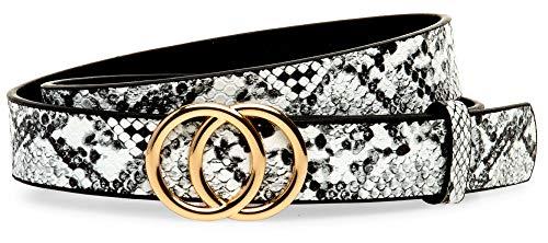 Caspar GU322 Cinturón Fino Elegante para Mujer con Hebilla Doble Redonda, Tamaño:85 [circunferencia 87-91 cm], Color:serpiente blanco/dorado