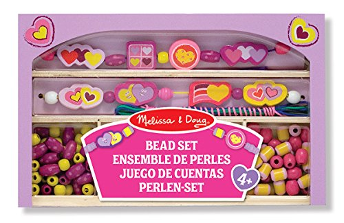Melissa & Doug Wooden Bead Set - Happy Hearts