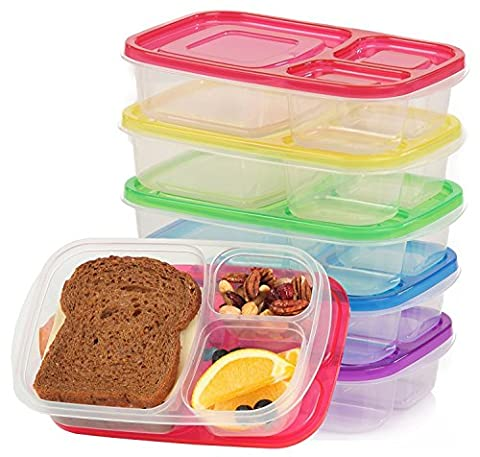Plastic Food Containers Kids Lunch Box Meal Snack Storage Bento Boxes For School Office With Lid and 3 Compartment BPA Free, Freezer Fridge Microwave Dishwasher safe