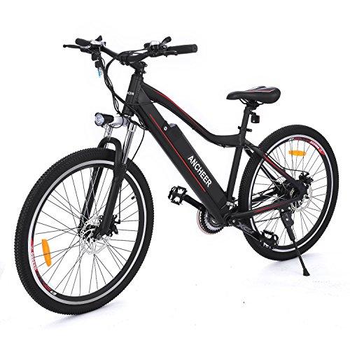 Ancheer 26 Zoll Elektrofahrrad, E-Bike 36V 250W Elektrisches Mountainbike mit LED Meter und Abnehmbarer Lithium-Akku Schwarz (26'' Schwarz)