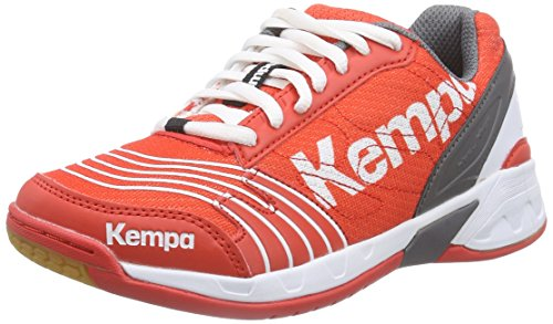 Kempa Statement Attack, Chaussures de Handball mixte adulte Multicolore (fire Red/grau/weiß)