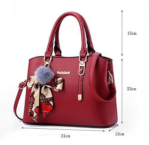CLOTHES- Koreanische Version der Tasche Handtasche Frau die neue Schulter Persönlichkeit Mode Tasche Damen Big Bag ( Farbe : Schwarz ) Rot