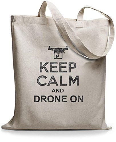 StyloBags Jutebeutel / Tasche Keep Calm and drone on Natur