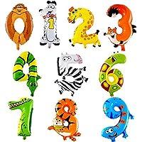 ED-Lumos Globos de Helio Decoración para niño Números 0-9 forma de Animales para Fiesta – Globos de Aluminio 10pcs Multicolor