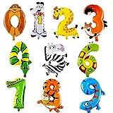 ED-Lumos 10 Stücke Folie Ballons für Kinder Baby Luftballon Tiere Tierkopf Party Geburtstag Geschenk Dekoration Spielzeug