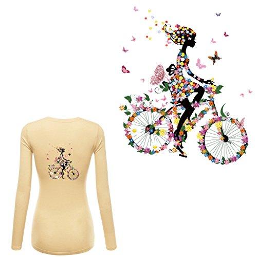 zum Aufbügeln für Mädchen, Reiten, Fahrrad, Hitzetransfer-Aufkleber ()