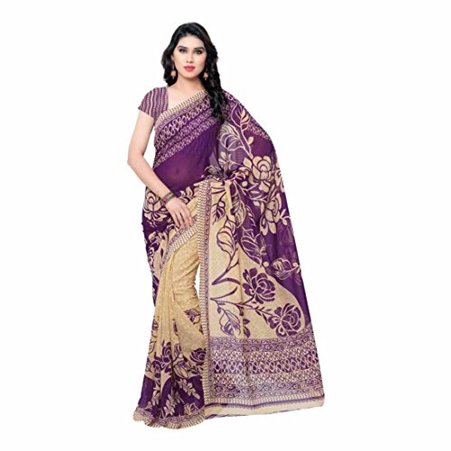 Indian Handicrfats Export Printed Daily Wear Georgette Saree (Purple) Chic Saree