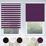 Doppelrollo VarioLight mit Kassette | Duo-Rollo für Fenster flexibel einstellbar - blickdicht oder transparent | Rollo Größe & Farbe wählbar (120 cm Breite x 150 cm Länge) | Violett