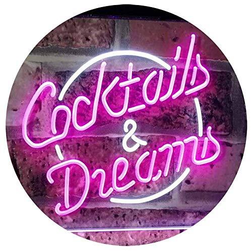 ADVPRO Cocktails & Dreams Bar Beer Wine Drink Pub Club Dual Color LED Barlicht Neonlicht Lichtwerbung Neon Sign White & Purple 400mm x 300mm st6s43-i2079-wp