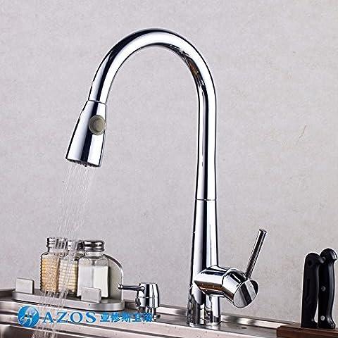 SDKKY L'ensemble de type traction, cuivre robinet robinet de cuisine évier robinet, dessiner, chaud et froid en mode double robinet, avec robinet de douche,un
