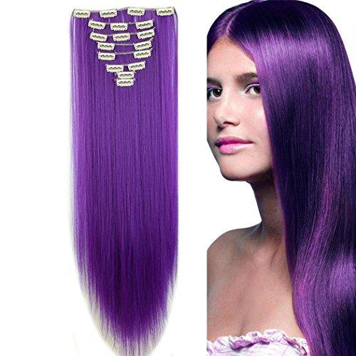 S-noilite 66cm Glatt 8 teiliges SET Clip in Extensions Haarverlängerung Haarteile (Dunkles Lila) (Dunkles Haar Extensions Echthaar)