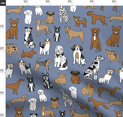 Hunde, Haustiere, Boston Terrier, Mops, Hund Stoffe - Individuell Bedruckt von Spoonflower - Design von Andrea Lauren Gedruckt auf Baumwollstoff Klassik -