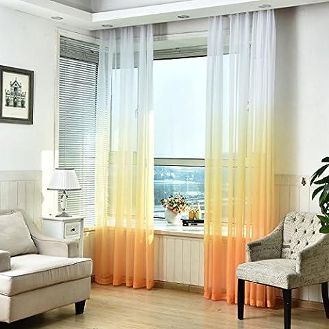 Souarts 1PC Rideau Brise Bise Rideau Voilage Dégradé de Couleurs pour Décoration Chambre Salon (245cmx140cm, Blanc Jaune)