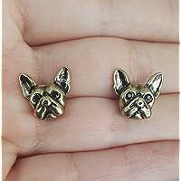 Selia Bully Ohrring Französische Bulldogge Ohrstecker minimal Hund gold Dog handgemacht Modeschmuck Schmuck, studs geschenk