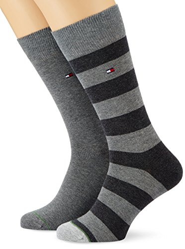 Tommy Hilfiger - TH MEN RUGBY SOCK 2P, Calze uomo, middle grey melange 758, 43/46 (Taglia produttore: 43-46)