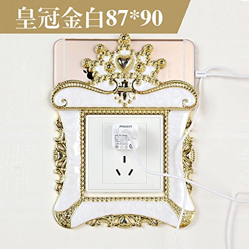 Jedfild Idyllische europäischen Acryl kreativ Switch-Buchse Buchse - Harz - Schalter, die Krone des weißen [für den 5,5-Zoll-Telefon] (Kaufen vier erhalten ein frei) (Telefon Krone)
