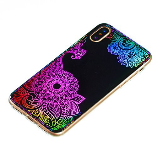 Custodia iphone X 5.8, iphone 10 Cover Glitter, Ekakashop Cover Morbido Sparkly Bling Bling Glitter TPU Silicone Gomma Soft Cover, Belle Bello Trasparente Crystal Clear Protettiva Back Cover Case Cus Mandala#5