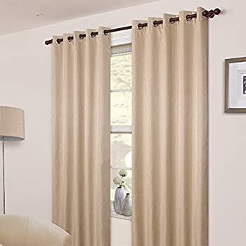 Pair Of Plain Beige Cream Eyelet Ring Top BLACKOUT DIMOUT Curtains 53 X