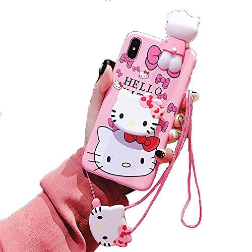 SDSJK Apple Phone Case Anti-Fall für iPhone Xmax XR XS X 7 8 Plus niedlichen Cartoon Hellokitty Doraemon Silikon weiche TPU Shell,Hellokitty1,iPhone7/8 - Hello Kitty Case Cover