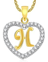 Trendy Gold Plated Alphabet 'H' Letter Heart Pendant Locket With Chain For Men And Women/Boys & Girls