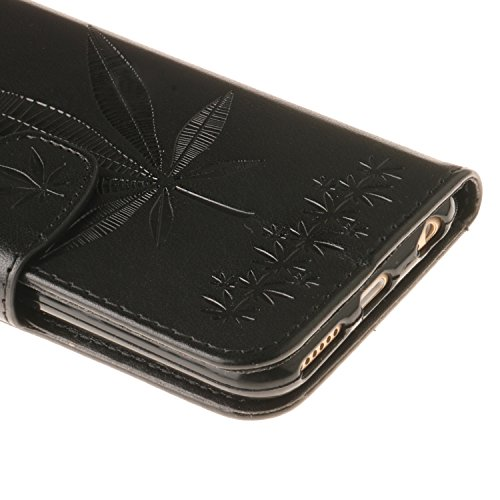 iPhone 6s Plus Hülle, iPhone 6 Plus Hülle, Vandot Tarnung Camouflage Flip Case Cover für iPhone 6s Plus / 6 Plus Lederhülle PU Leder Armee Army Rüstung Verteidiger Passgenaues Telefonkasten Handyhülle Ahornblatt Schwarz