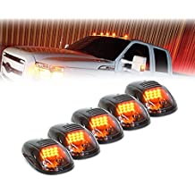 Xprite Newest Version 5pcs 12 LEDs Amber Yellow LED Cab Roof Top Marker Running Clearance Lights For Ford Truck SUV Pickup 4x4 (Black Smoked Lens Lamps)