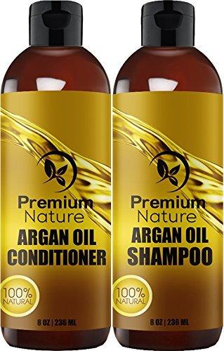 Premium Nature Shampooing À L'Huile D'Argan 8Oz Et Huile D'Argan Conditionneur
