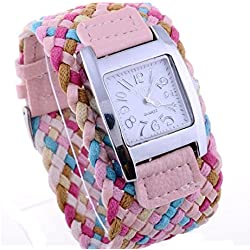 Fashion Candy Color Braided Plaited Rope Strap Wrap Quartz Lady Pink Wrist Watch