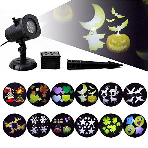 GAXmi Halloween-Projektor LED-Licht-drehendes Landschaftsmuster-Scheinwerfer 12 umschaltbares Muster-wasserdichtes Dekoration-Licht für Halloween-Danksagungs-Valentinstag-Geburtstags-Party (B)