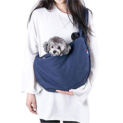 Mochila de Perros Gatos Mascotas Bolsa de Cotón para Transporte Portador de Viaje Lona Bolsa de Hombro Cómodo Suave(Azul, 50x28x13 cm)