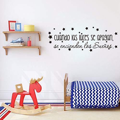 der Schlafzimmer Vinyl Wandtattoo, Die Träume Kommen Auf Inspirierende Spanische ZitatWandaufkleberBaby Kinderzimmer Kunst Dekor55X20 Cm ()