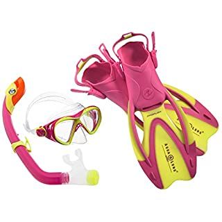Aqua Lung Sport La Costa Junior Pro Dive Kinder 3er Set (Tauchmaske, Schnorchel & Flossen) inkl. Beutel - 35-39 Yellow-Pink