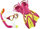 Aqua Lung Sport La Costa Junior Pro Dive Kinder 3er Set (Tauchmaske, Schnorchel & Flossen) inkl. Beutel - 35-39 Yellow-Pink