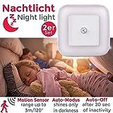LED Flurlicht | Nachtlicht mit Bewegungsmelder | 2-er Set | Steckdosenlicht | Treppenhausbeleuchtung | weiß