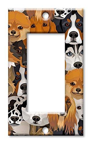 Art Teller Marke Schalter/-- nur Hunde Single Rocker - 2 Rocker Wall Plate